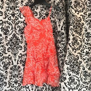 GB Girls one shoulder coral ruffle dress